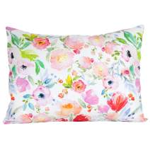 "ADDISON BELLE 100% Organic Toddler Pillowcase Fits Both 13""x18"" and 14""x19"" Pillows - Soft, Durable & Breathable (Watercolor Floral)"