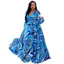 Dora's Womens Chiffon Deep V Neck Printed Stylish Maxi Dress Dresses High Slim Waisted Belt Plus Size (Blue L)