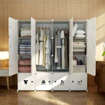MAGINELS Wardrobe Clothes Closet Bedroom Armoire Dresser Cube Storage Organizer Portable 30% Deeper Cube White Sticker 10 Cube & 2 Hanging Sections
