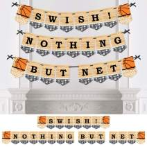 Big Dot of Happiness Nothin' but Net - Basketball - Baby Shower or Birthday Party Bunting Banner - Party Decorations - Swish Nothing But Net