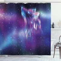"""Ambesonne Fantasy Shower Curtain, Psychedelic Northern Starry Sky with Spirit of a Wolf Aurora Borealis Display, Cloth Fabric Bathroom Decor Set with Hooks, 70"""" Long, Purple Blue"""