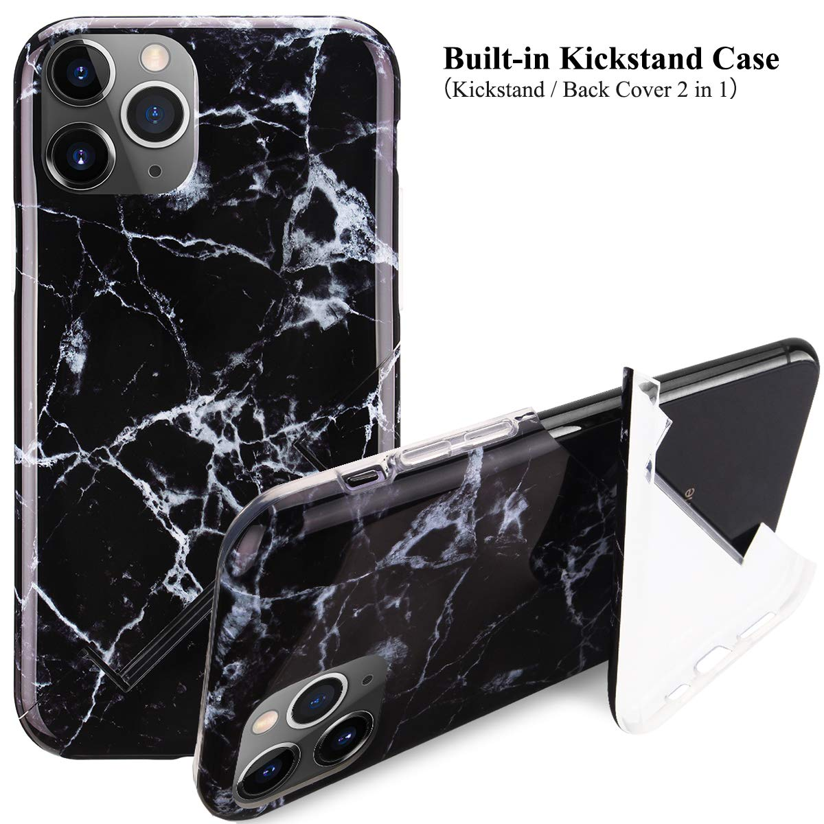"""iPhone 11 Pro Kickstand Case, Stylish Black Marble iPhone Case for iPhone 11 Pro 5.8"""" Foldable Durable Flexible Soft Ultra-Thin Shockproof Slip Resistant TPU Case Cover for Girls Men"""