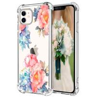"""Hepix Red Blue Peony Flowers iPhone 11 Case, Floral Clear iPhone 11 Cases for Women Girls, Flexible Soft TPU with 4 Corners, Camera Protection Anti-Scratch Shock Absorption for iPhone 11 (6.1"""") 2019"""