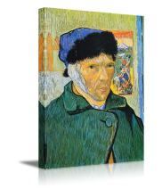 """wall26 - Self-Portrait with Bandaged Ear by Vincent Van Gogh Canvas Print Wall Art Famous Painting Reproduction - 16"""" x 24"""""""