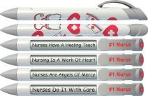 Greeting Pen Rotating Message Nurse Pen - #1 Nurse (Silver Top) 6 Pack (36546)