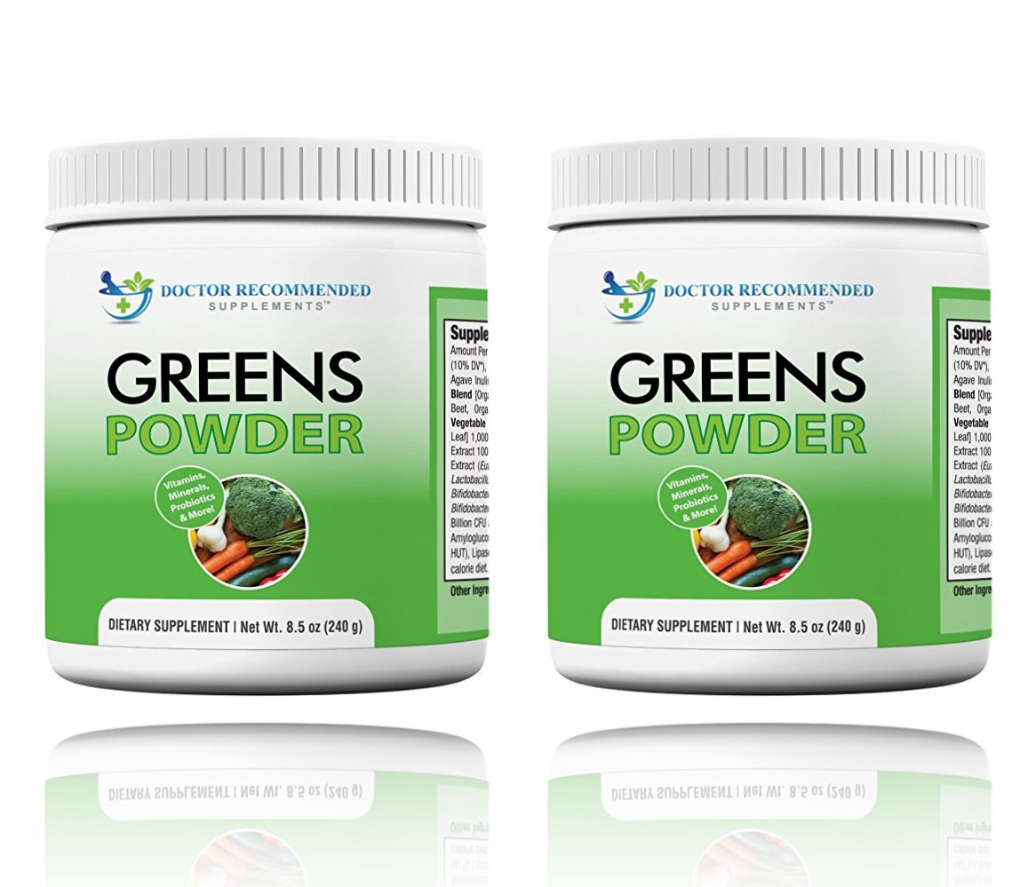 Greens Powder -Doctor Recommended-Complete-Natural Whole Super Food Nutritional Supplement - Greens Drink w/Organic Fruits, Vegetables, 2 Pack