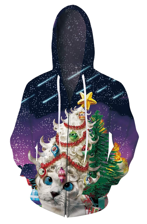 ALISISTER Unisex Christmas Zip Hoodie Pullover Jacket Pocket with Drawstring Top