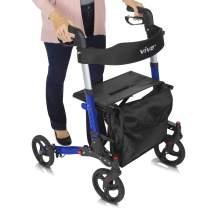 Vive Rollator Walker - Folding 4 Wheel Medical Rolling Walker with Seat & Bag - Mobility Aid for Adult, Senior, Elderly & Handicap - Aluminum Transport Chair (Blue)