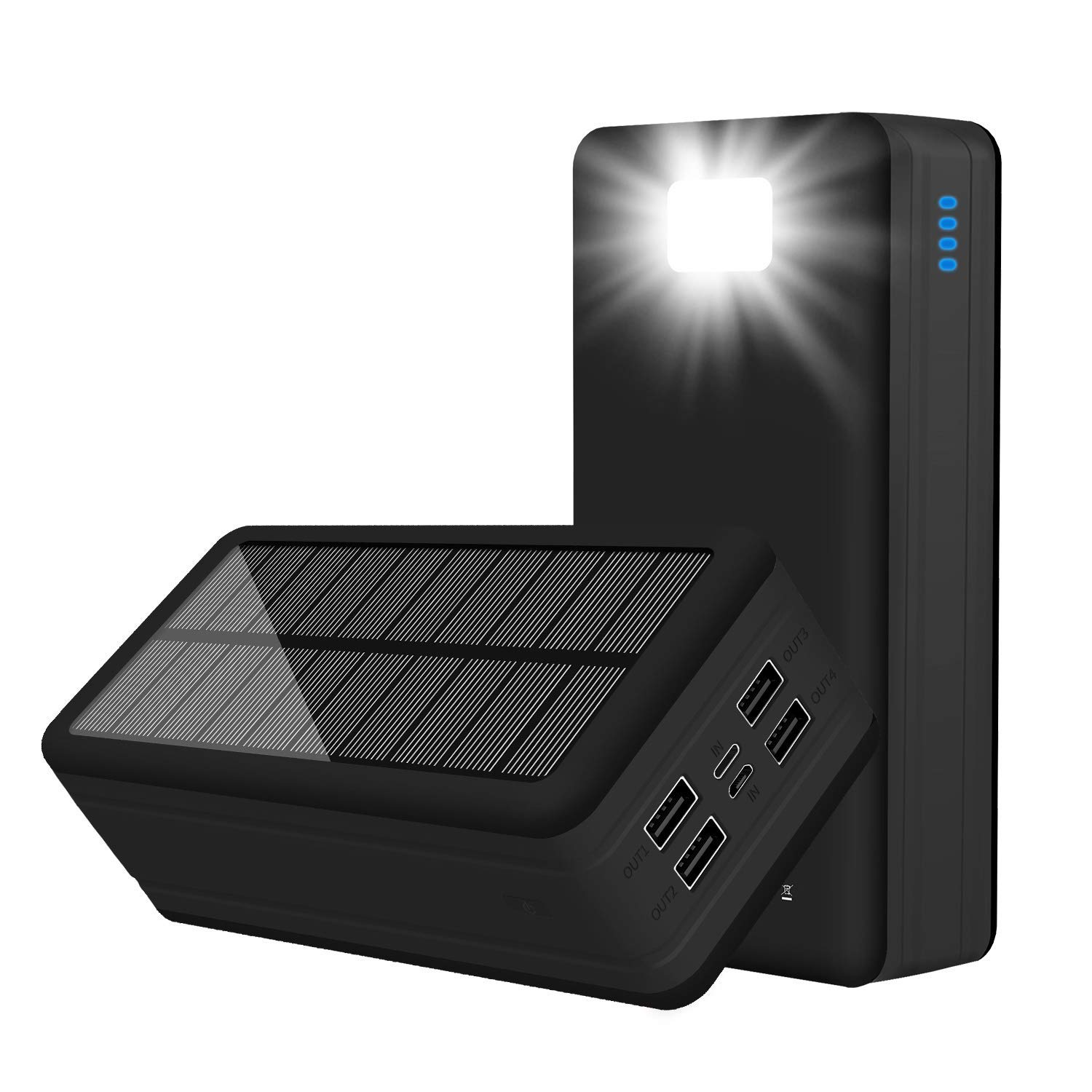 PSOOO Solar Power Bank 50000mAh Phone Charger for Caming Supply with 4 Output 2 Input Ports Type C USB Charging Flashlight Huge Capacity(Black)
