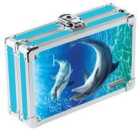 "Vaultz Locking Supplies & Pencil Box with Key Lock, 5""x 2.5""x 8.5"", Dolphin Blue and Teal (VZ03786)"