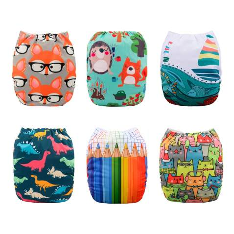 Babygoal Baby Cloth Diapers, Washable Pocket Nappy for Boys and Girls, 6pcs Diapers+6pcs Microfiber Inserts+One Wet Bag 6FN33D