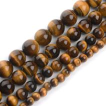 iSTONE Natural Yellow Brown Golden Tiger Eye Gemstone Round Loose Beads for Jewelry Making Findings/Accessories 1 Strand 16 inches - 8mm