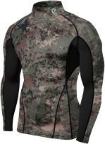 TSLA Mens Mock Long-Sleeved T-Shirt Cool Dry Compression Baselayer, Zero Block(t12) - Camo Green, X-Small