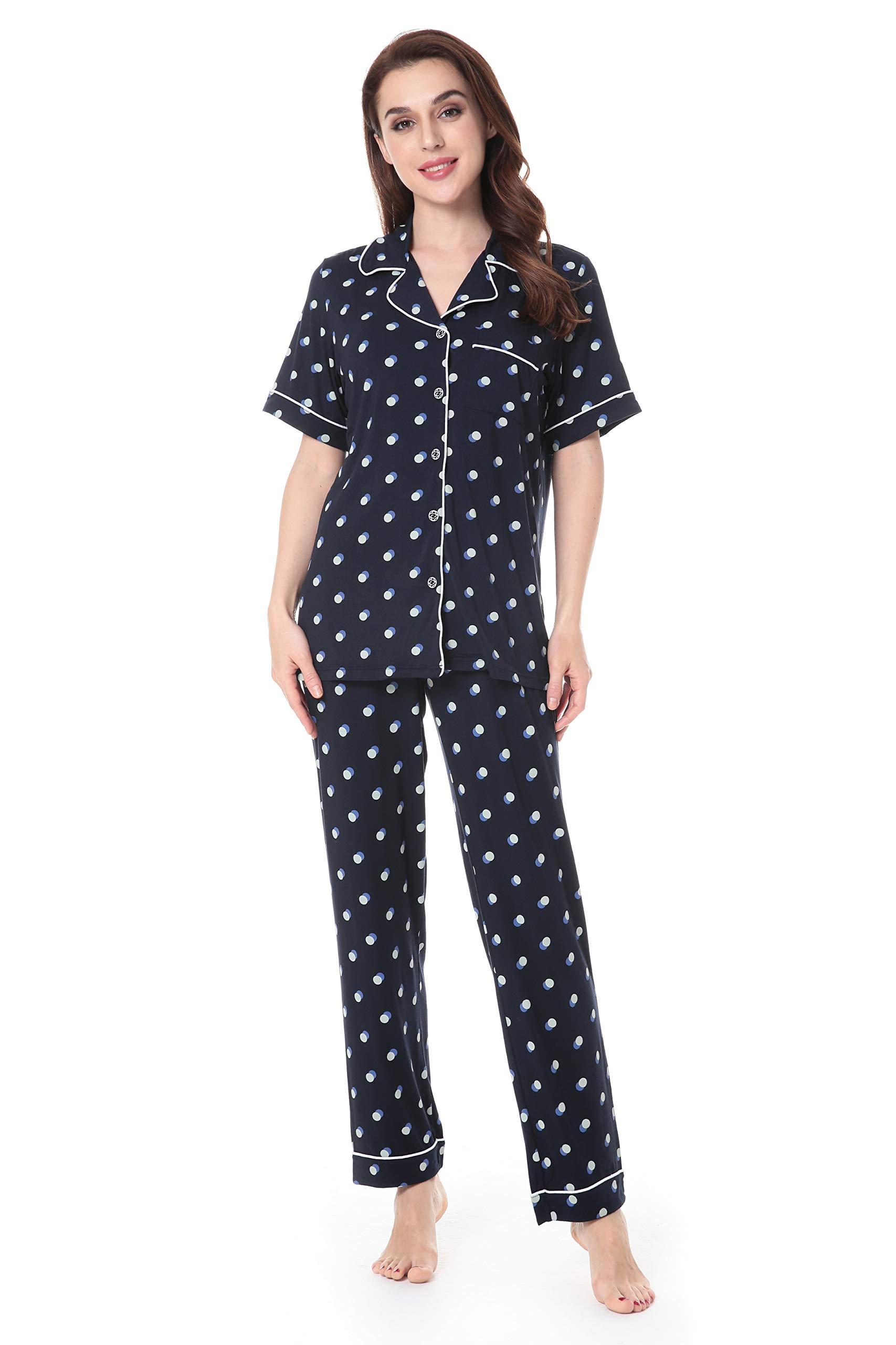 N NORA TWIPS Women's Bamboo Pajamas Set Short Sleeve Sleepwear Soft PjS