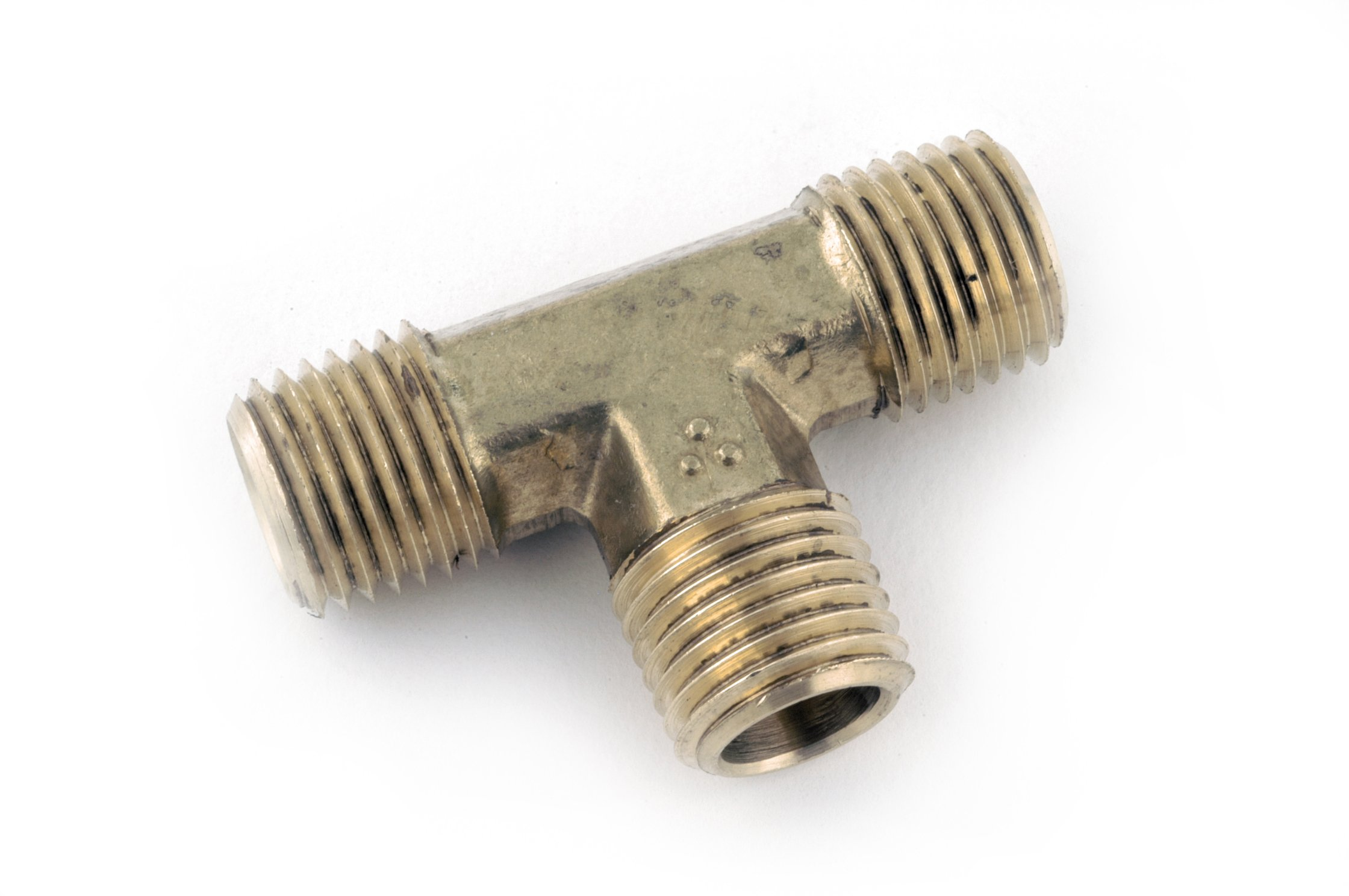 "Anderson Metals 06232 Brass Pipe Fitting, Forged Tee, 3/8"" NPT Male x 3/8"" NPT Male x 3/8"" NPT Male Pipe"