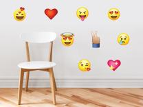 Emoji Emoticon Fabric Wall Decals - Set of 9 Phone Text Faces Wall Stickers, Graphic Decal Kids Game Room Decor Art, Non-Toxic, Removable, Reusable, Respositionable