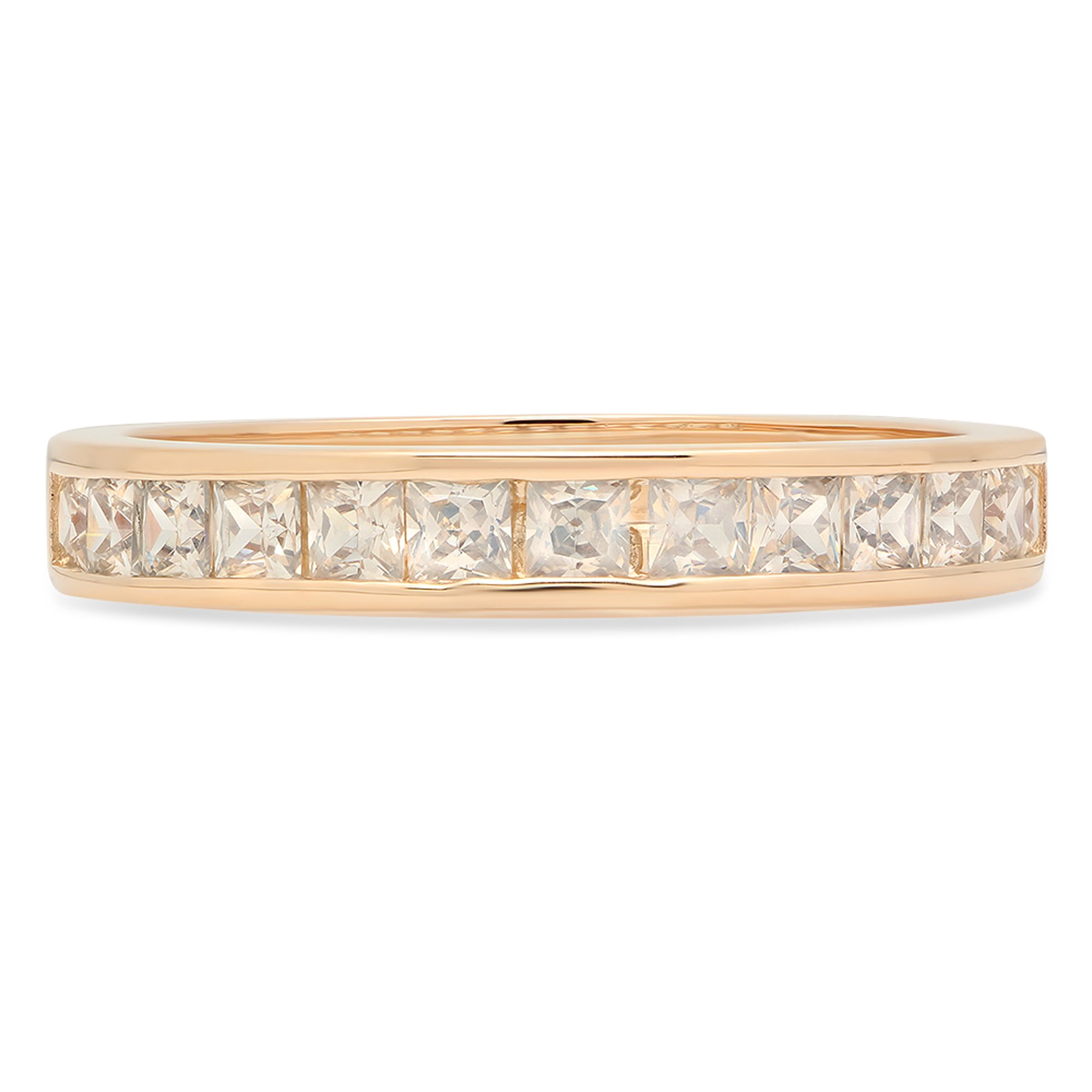 2.20 ct Brilliant Princess Cut Stacking Channel Setting Statement Classic Designer Solitaire Anniversary Engagement Wedding Bridal Promise Bands in Solid 14K Yellow Gold