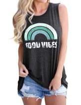 Womens Good Vibes Tank Top Summer Loose Funny Rainbow Graphic Sleeveless Tops
