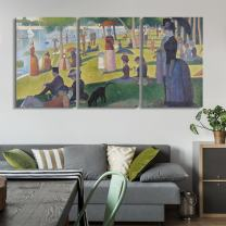 """wall26 3 Panel World Famous Painting Reproduction on Canvas Wall Art - A Sunday on La Grande Jatte by Georges Seurat - Modern Home Decor Ready to Hang - 16""""x24"""" x 3 Panels"""