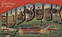 Lubbock, Texas - Greetings from Texas Tech - Vintage Travel Advertisement (9x12 Art Print, Wall Decor Travel Poster)
