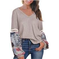 Balloon Sleeve Tops for Women Boho Top Shirt Long Sleeve V Neck Waffle Knit Blouse Khaki L