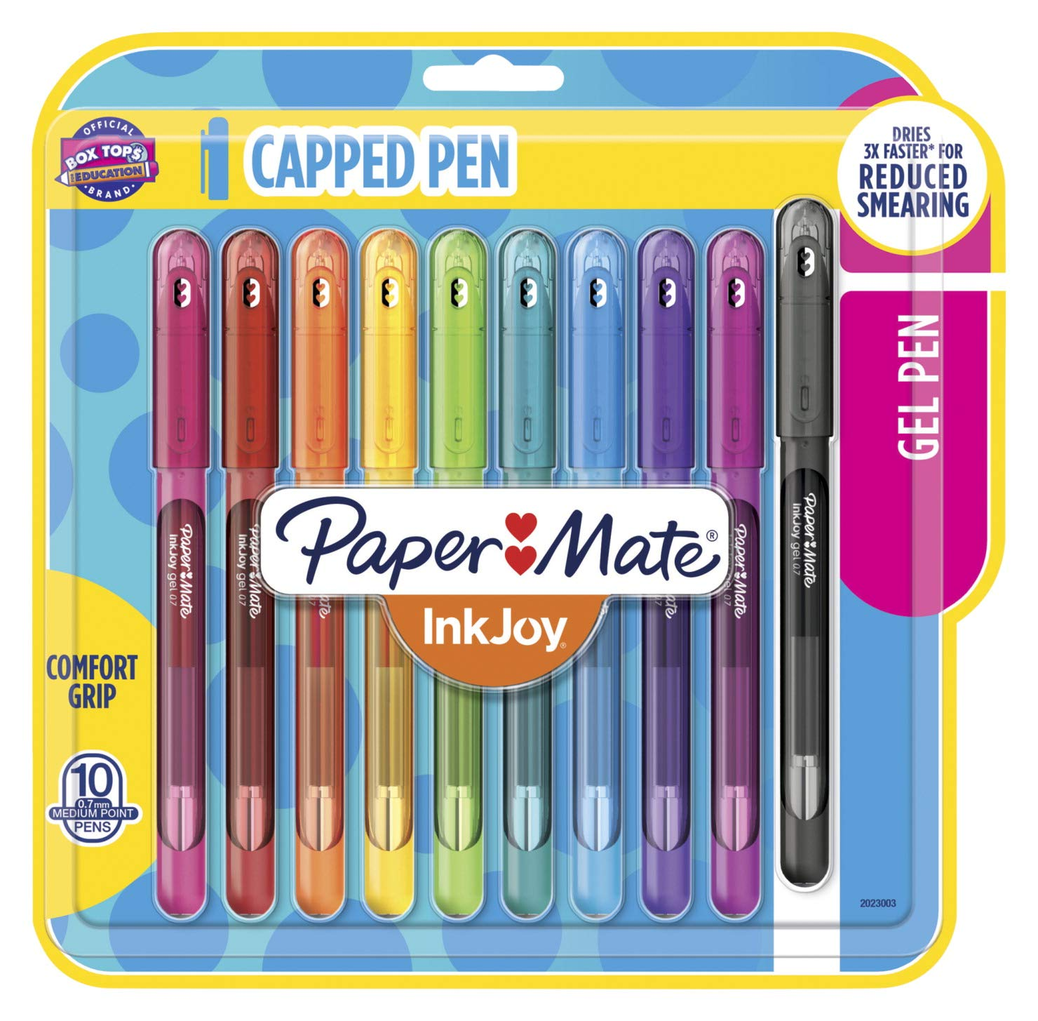 Paper Mate InkJoy Gel Pens Medium Point (0.7mm) Capped, 10 Count, Assorted Colors (2023003)