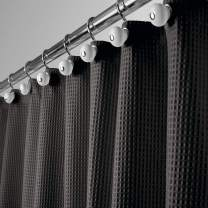 """mDesign Extra Long Hotel Quality Polyester/Cotton Blend Fabric Shower Curtain, Rustproof Metal Grommets - Waffle Weave for Bathroom Showers and Bathtubs - 72"""" x 96"""" - Black"""