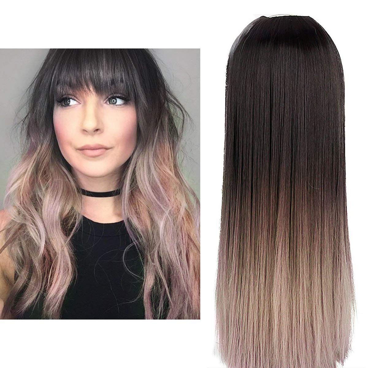 """Ombre Clip in Hair Extension Black Pink Straight Long Thick Full Head One Piece U shape 24"""" 0.37lb 170g Synthetic Hairpiece For Women Natural Real Hair Piece Japan High Temperature Fiber(UH16#4TBT)"""