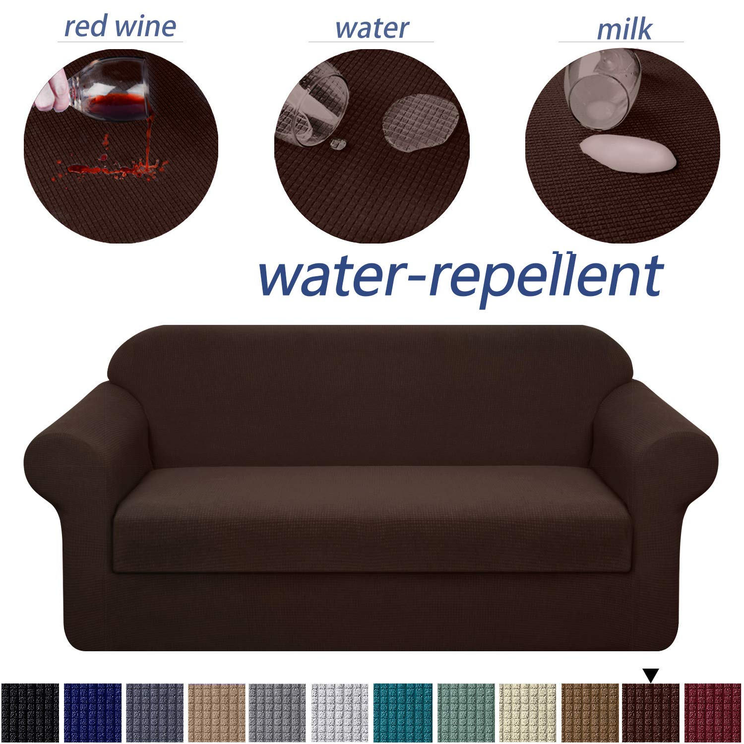 Granbest Premium Water Repellent Sofa Cover 2-Piece High Stretch Couch Slipcover Super Soft Fabric Couch Cover (Chocolate, XLarge-2 Pieces)