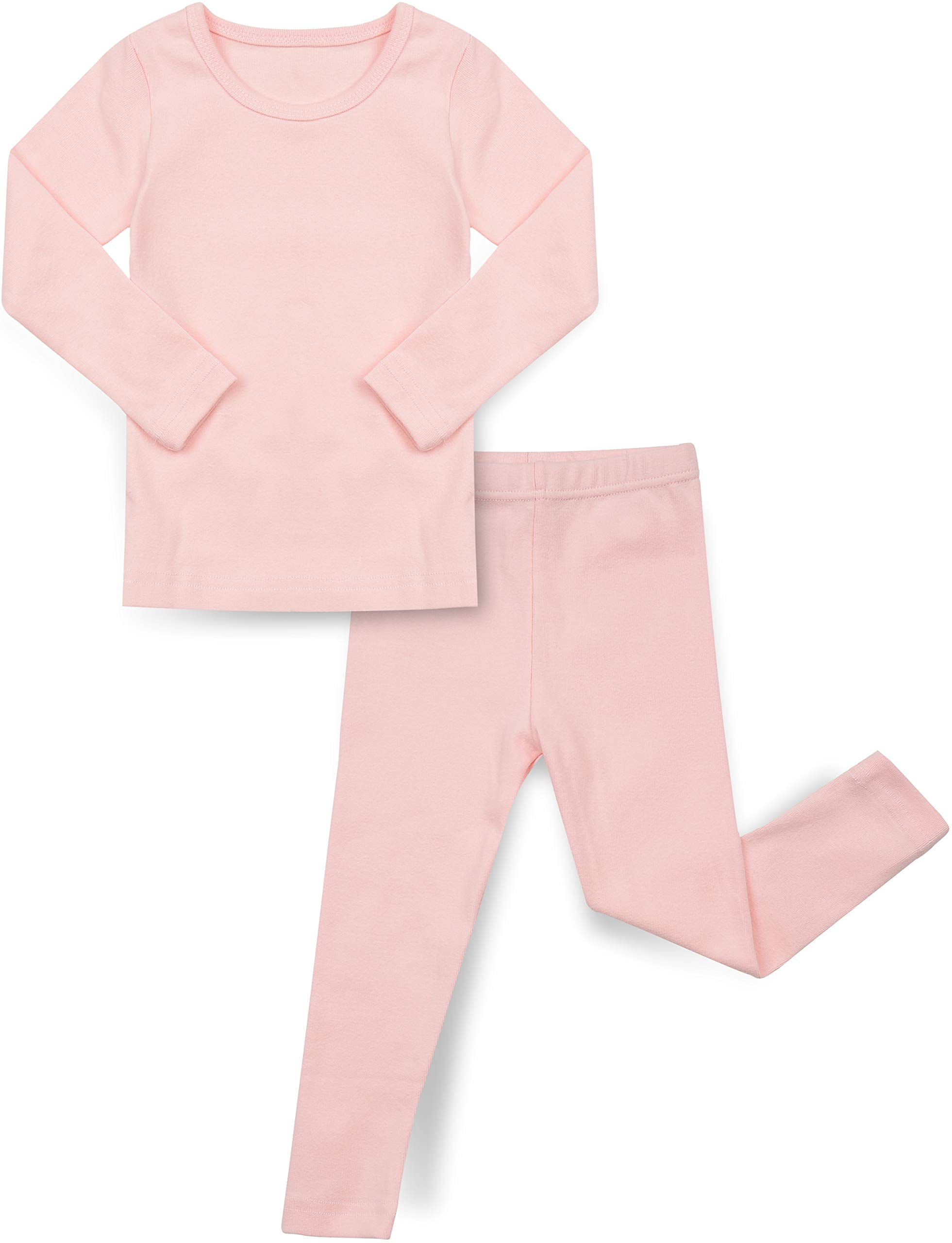 AVAUMA Baby Boys Girls Solid Pring Pj Set Kids Pajamas Long Sleeve Cotton (Spring Pink-1 Small)