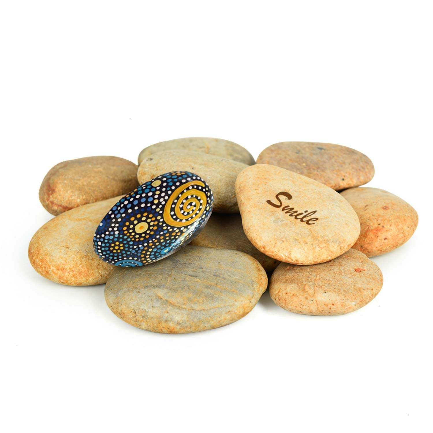 Vumdua Flat Stones for Painting, 12 PCS Kindness Smooth Rocks Natural Painting Supplies Bulk Perfect for Craft, Art, Decoration (1.97 to 3.54 Inch)