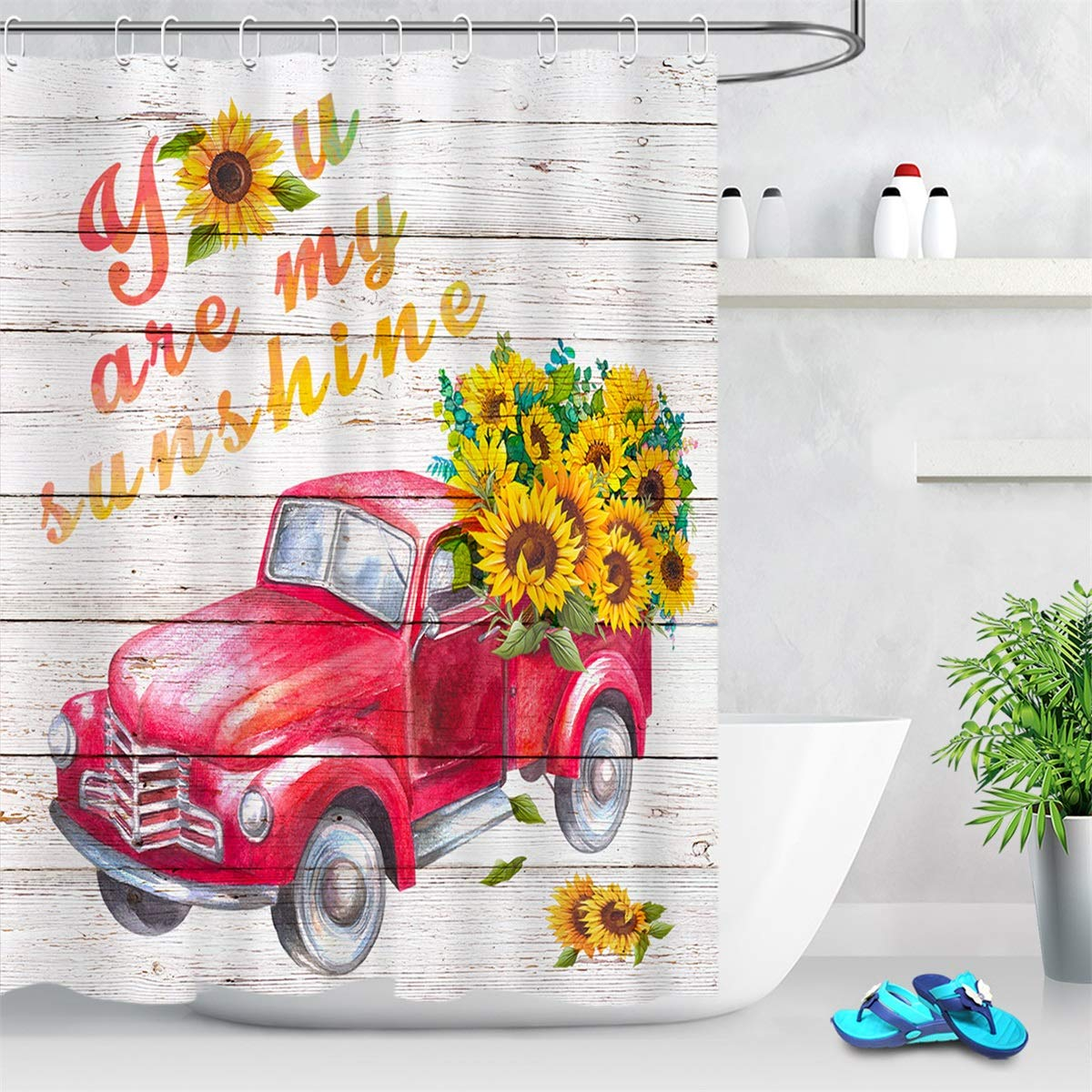 LB Bright Sunflower Shower Curtain Set Red Truck Pulling Yellow Flowers Farm Shower Curtain with 'You are My Sunshine' on Rustic Wood Shower Curtains for Girls Bathroom Decor 72x72 Polyester Fabric