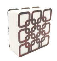 Metal Square Shape Tabletop Napkin Holder, Freestanding Tissue Dispenser (Red)
