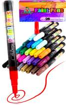 28 Paint Pens - Paint Marker Pens, Water Based Colors for Kids Adults, Sun and Water Resistant Fine Point, Paint on Rock, Wood, Glass, Ceramic, Metal, Clothes, Skin, Almost All Surfaces Model 2020