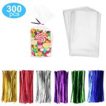"300 Pack Clear Candy Bags Clear Cellophane Bags 2""x10"" Cookie Bags With 3.1"" Twist Ties 6 Mix Colors - 1.4mils Thickness OPP Plastic Bags for Wedding Birthday Cake Pops Gift Supplies(4""x9"")"