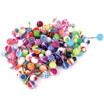 BodyJ4You 100PC Belly Button Rings Banana Barbells 14G Steel Flexible Bar Mix Color Body Jewelry