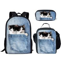 FUIBENG Tweens Kitty Printing Backpack with Lunch Boxes for Little Girls Small Pencil Pouch 3 Piece