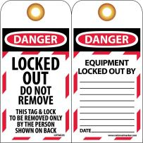 NMC LOTAG35 DANGER LOCKED OUT DO NOT REMOVE THIS TAG & LOCK TO BE REMOVED ONLY BY THE PERSON SHOWN ON BACK Tag - [Pack of 10] Vinyl 2 Sided Danger Tag