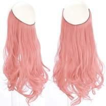 """Colored Pink Curl Hair Extensions Hair Streak Highlight No Clip Halo Curl Wavy Curly Halo Long 16"""" 3.9oz Party For Women Girl Kid Synthetic Hairpiece SARLA"""