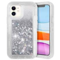 COOYA iPhone 11 Case, iPhone 11 Glitter Case for Girls Women Full Body Protection Heavy Duty Shockproof Bumper Dual Layer Hard PC and TPU Back Cover Bling Sparkle Case for iPhone 11 6.1 Inch Silver