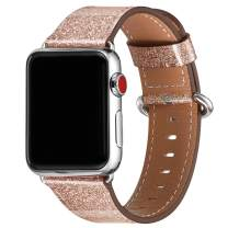 WFEAGL Compatible iWatch Band 38mm 40mm,Top Grain Leather Band Replacement Strap for iWatch Series 4,Series 3,Series 2,Series 1,Sport, Edition(Rosegold(Glistening) Band+Silver Adapter,38mm 40mm)