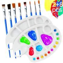 2 Pcs Paint Palette with 8 Pcs Paint Pallet Brushes - BUSOHA Non-Stick Premium Artist Palette Watercolor Paint Palette with Thumb Hole to DIY Art Craft Painting for Acrylic, Oil, Watercolor Paints