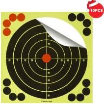 BOSICAN 8inch 12 Inch Shooting Targets Adhesive Paper, Reactive Bright Yellow Splatter Bullseye Target Stickers 16 Cover up Patches for Rifle, Pistol, BB Gun, Airsoft, Pellet Gun, Shotgun, Air Rifle