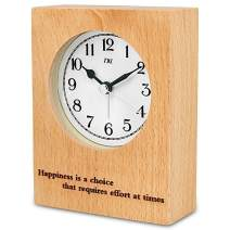 """TXL Wood Desk Clock 5.1"""" Wooden Digital Tabletop Analog Alarm Clock, Battery Operated with Silent Sweep, Ascending Beep Sounds, Snooze,Night Light,Gentle Wake, Easy Set-1"""