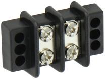 """Power Distribution and Terminal Block, Double Row Terminal Block - 9/16"""" Centers, 600V, 2 Wire Size, 9/16"""" Center, 2.109 Length, 1.688 Width"""