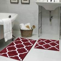 "HEBE Bathroom Rug Set 2 Pieces 26""x18""+32""x20"" Water Absorbent Bath Rugs and Mats Set Non Skid Bathroom Mat Floor Rug Machine Washable"