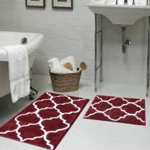 "HEBE Bathroom Rug Set 2 Pieces 26""x18""+32""x20"" Water Absorbent Bath Rugs and Mats Set Non Skid Bathroom Mat Floor Rug Machine Washable"