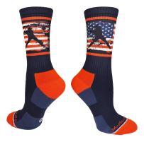 MadSportsStuff USA American Flag Baseball Player Athletic Crew Socks
