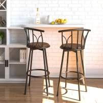 IRONCK Bar Stools Set of 2, Bar Chairs with Faux-Leather Upholstery, Kitchen Breakfast Bar Stools with Footrest, Industrial in Living Room, Party Room, Rustic Brown