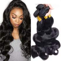 Brazilian Body Wave 10A Grade 3 Bundles With 4x4 Free Part Lace Closure 100% Unprocessed Human Hair Extensions Natural Color (20 22 24+18) inches
